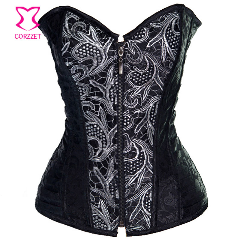 Vintage Appliesque Zipper Front   Bustier   Women   Corsets   Steel Boned   Corset   Corselet Feminino Espartilhos Gothic Steampunk Clothing