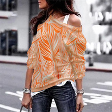 Sexy Off Shoulder Striped Tops Spring Autumn T-Shirts Women Leisure Long Sleeve Geometric Printing Ladys T-shirt Plus Size 3XL