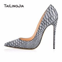 Women High Heel Point Toe Pumps Snake Print Leather Ladies Shoes White Stilettos Plus Size Evening Dress Heels Slip On Wholesale вентилятор вытяжной с автоматическими жалюзи era euro 6a
