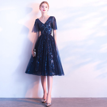 Simple V-neck Short Prom Dresses Sparkle Lace Formal Party Gowns Vestido De Baile Curto Knee Length Navy Blue Prom Dresses