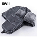2015 New mens winter warm hat bomber fur cap with ear flaps leather bonnet snow caps russian hats for men
