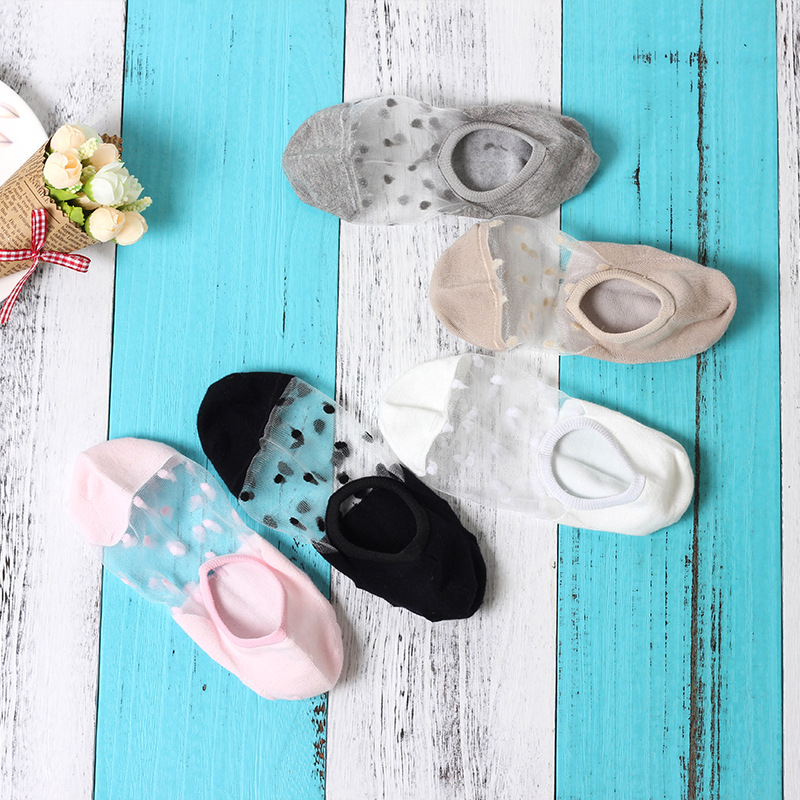 1 Pair Crystal Silk Cotton Lace Mesh Boat Socks Women's Short Summer Socks Female Thin Low Cut Women Nylon Transparent Socks