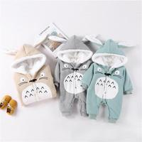 Baby Toddlers Rompers Clothes Cute Rabbit Ear Hooded Baby Boy Girl Outwear Keep Warm Thickening Children