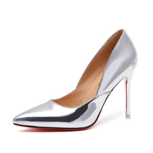 2017 Women spring ultra High Heels Shoes Elegant Thin High Heels Pointed Toe Patent leather Pumps woman Party Gold Silver Color