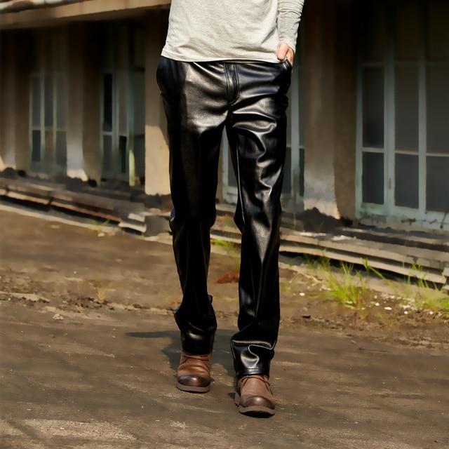 Moda engrosamiento de Los Hombres a prueba de viento pantalones de cuero de la motocicleta Los Hombres de Cuero de imitación Joggers pantalones de Los Hombres de hip hop pantalones pantalones de invierno
