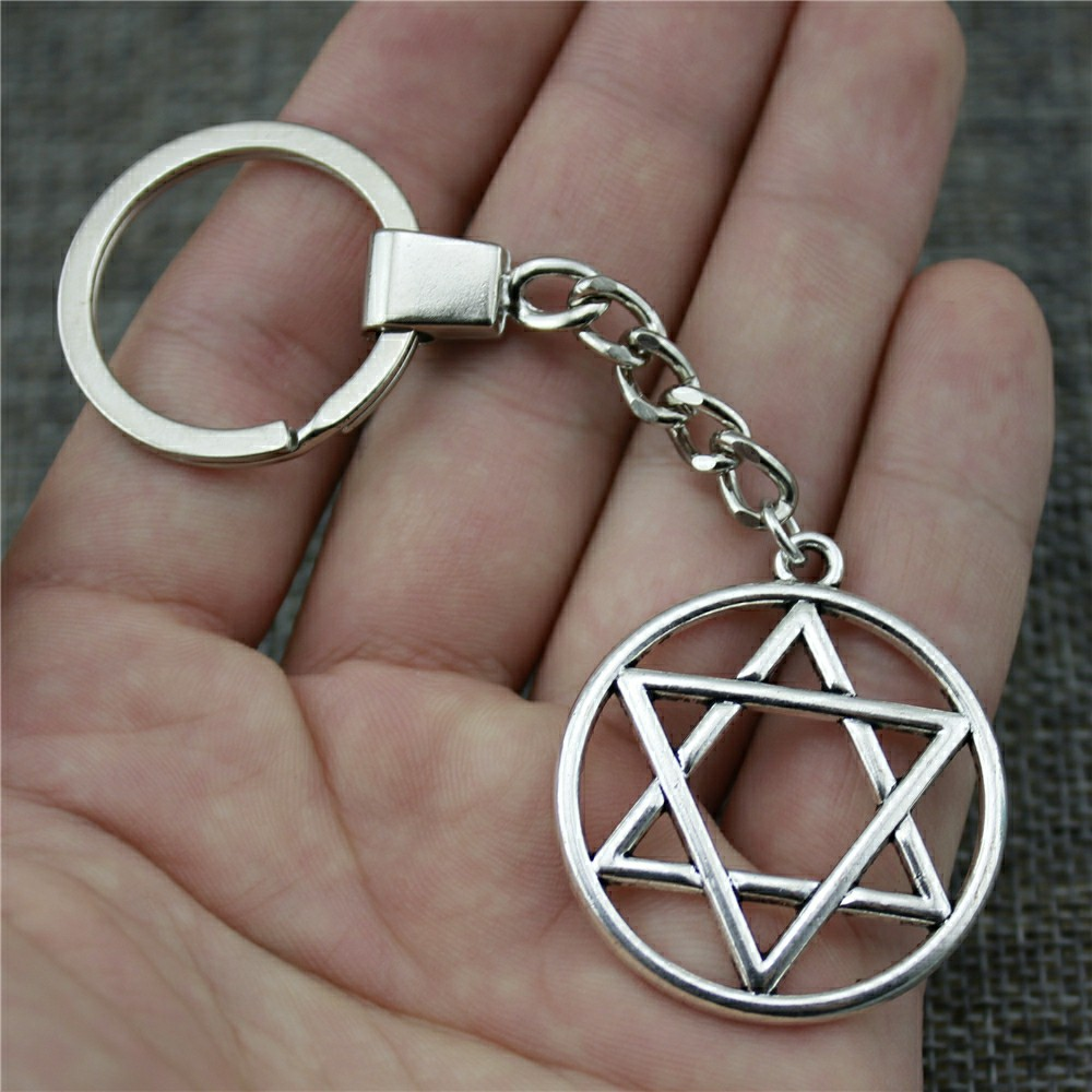 New Fashion Keychain Antique Silver Color 39x35mm Star Of David Pendant Key Chain Ring Holder Dropshipping