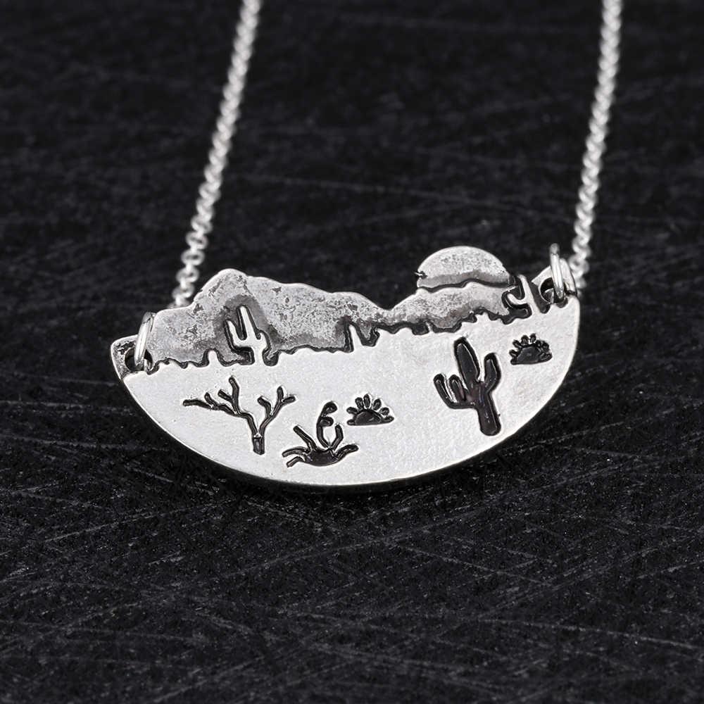 غرب الصحراء المعدنية صبار أريزونا الشمس المشهد المعاصر boho قلادة مجوهرات هدية للمرأة