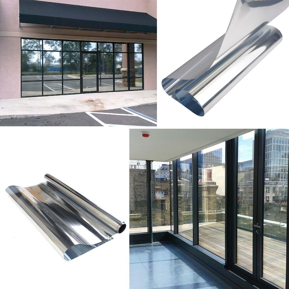 0.5x30m(20x100ft) One Way Commercial Window Tints Silver Reflective Mirrored Effect Window Tints, Privacy Solar Films