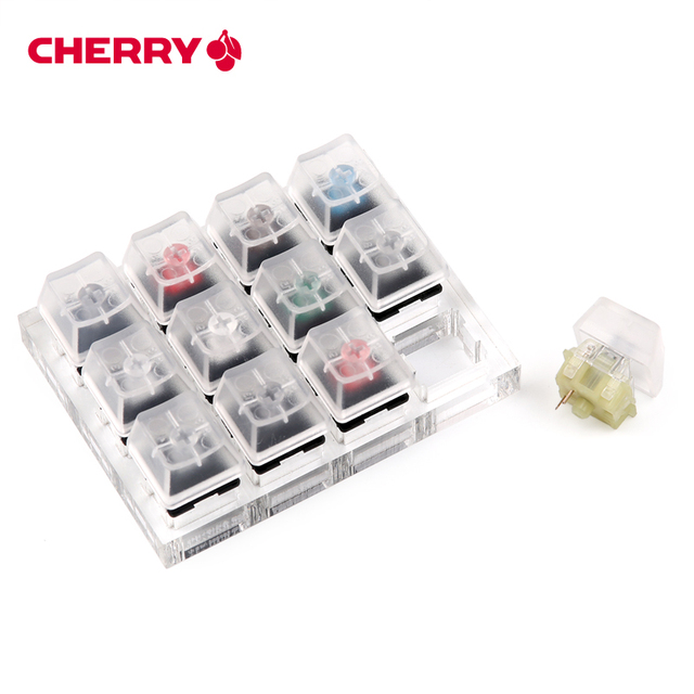 12 Cherry MX Switches Keyboard Tester Kit Clear Keycaps Sampler PCB Mechanical Keyboard Translucent Keycaps Testing Tool