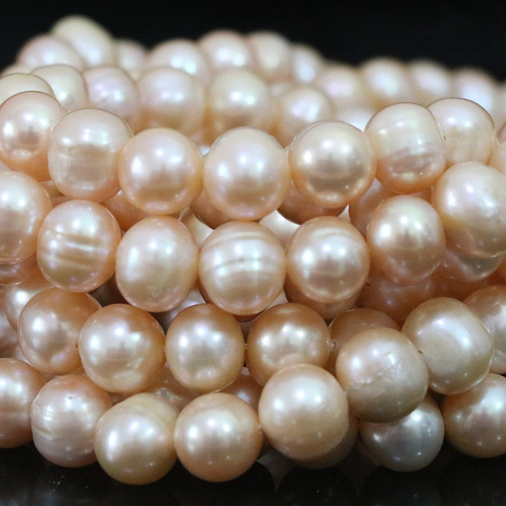 Natural elegant freshawater cultured orange round pearl 9-10mm high grade women diy loose beads jewelry 15inch B1397