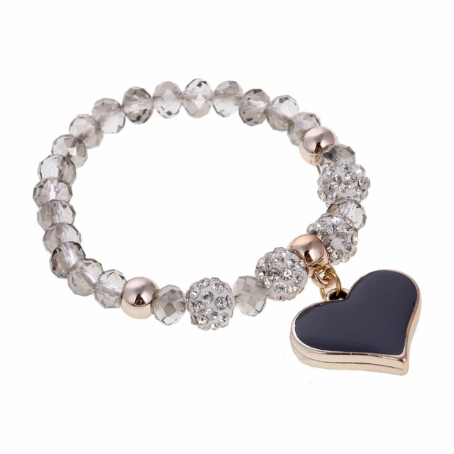 Crystal Beads Bracelets Elastic Love Heart Pendant Charm Bracelets Bangles Fashion Women Jewelry Gem Stone Delicate pulseira