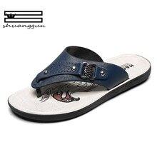a606ce81923 SHUANGGUN 2018 Leather Men Slippers Flip Flops With Soft Sole Trendy  Breathable Men Summer Shoes Fashion Beach Sandals Shoes Men