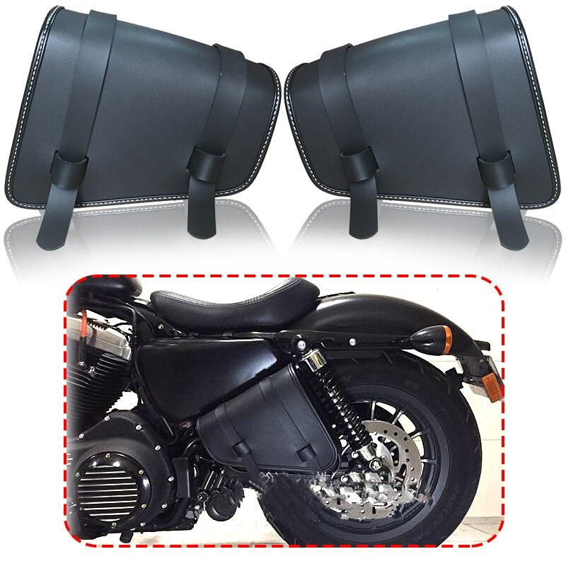Черная седельная сумка из искусственной кожи, мотоциклетные седельные сумки, L & R Боковая Сумка для хранения, мотоциклетная боковая сумка для инструментов для Harley Sportster XL883 XL1200