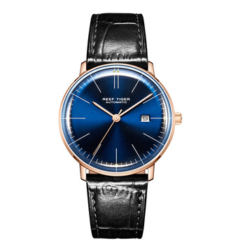 2019 Reef Tiger/RT Top Band Luxury Dress Watch for Men Brown Leather Strap Rose Gold Automatic Watch Montre Homme Clock RGA8215 - RGA8215-PLB
