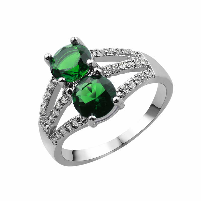 Female Double Green Round Ring Fashion Silver & Rose Gold Filled Jewelry Vintage Wedding Rings For Women Birthday Stone Gifts