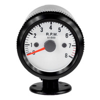 Black Shell White Dial 2 52mm Car LED Tacho Tachometer RPM Gauge Meter Free Shipping