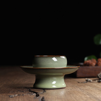 Chinese Longquan Celadon Iron Body Teacup with Saucer Tea Dry Making Heat Insulating Tea Set Tea Cup Handmade by Xiaobao Wu