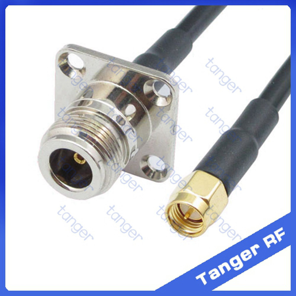 Hot sale Tanger N female jack 4 four hole panel to SMA male plug straight RF RG58 Pigtail Jumper Coaxial Cable 20inch 50cm lson female to female breadboard jumper dupont cable white black red blue yellow 28 pcs