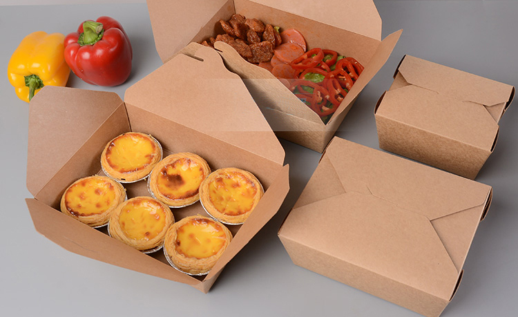 take out box To go boxes Kraft paper doggie bag food lunch pasta packing 100pcs lot