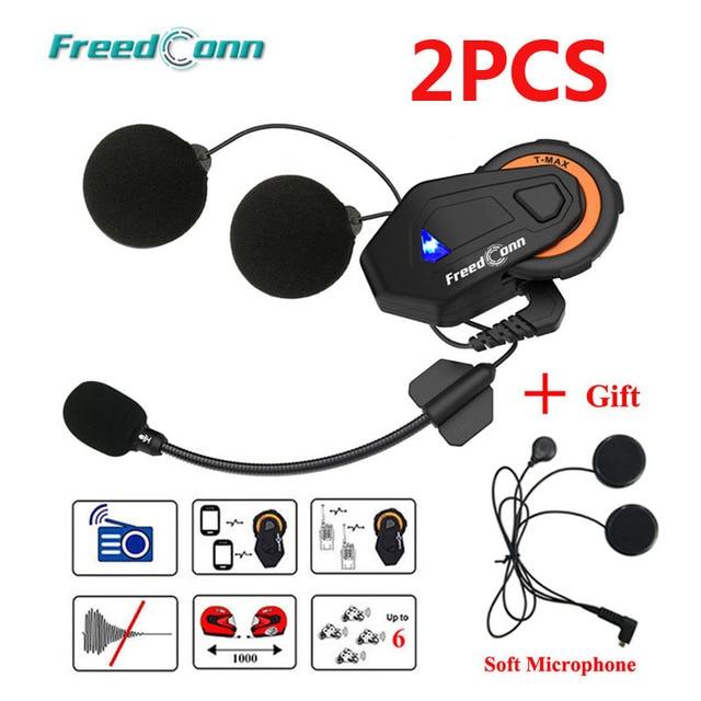 2 PCS Freedconn T-Max Capacete Da Motocicleta Do Bluetooth Interfone Headset 1000 M 6 Pilotos Grupo Falar Sistema de Rádio FM + Fone de Ouvido macio