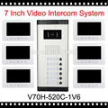 "V70H-520C-1V6 7"" Video Intercom Apartment Door Phone Kit 6 White Monitors 1 Outdoor Camera for 6 Family Video Doorbell System"