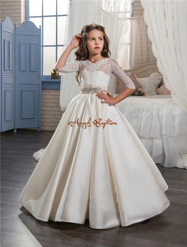 2017 New Arrival Princess ball gown flower girls dresses sheer Crew Neck lace draped satin bows holy communion dresses for girls
