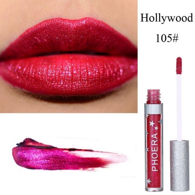 PHOERA diamante brillo Shimmer maquillaje Metal labios mujer cosméticos Lipgloss brillante labio marca Liquid Lipstick Maquiagem