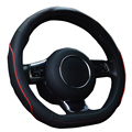 Leather Steering wheel Cover For Audi Golf BMW D Style Steering Wheel Cover Wraps 15Inch