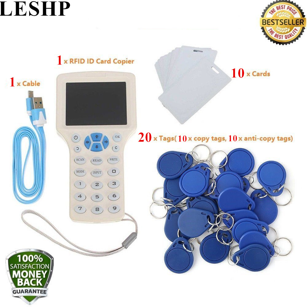 LESHP Super Full-Featured RFID ID Card Copier ID/IC Card Reader/Writer+10 Cards+20 Tags Comes direct decoding here comes super bus 2