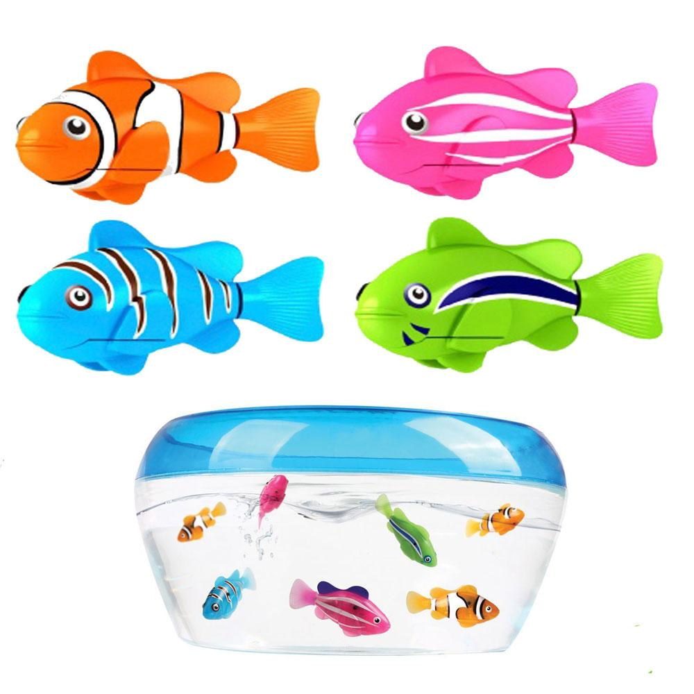 4 Piece Funny Swim Electronic Fish Activated Battery Powered Swimming Toy Fishes Pet For Fishing Tank Decorating Party Pets Toys