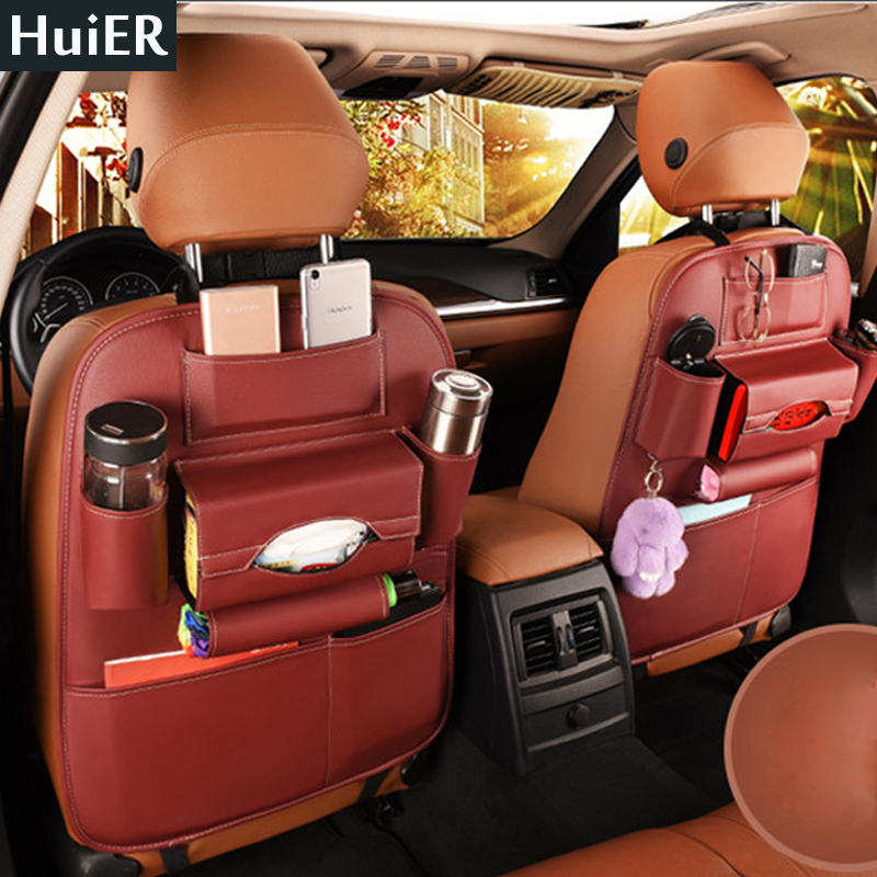HuiER 1PC High Leather Car-Styling Back Seat Storage Bag Organizer Multi-Pocket Storage Container Stowing Tidying Seat Cover aumohall car multi pocket organizer large capacity folding storage bag trunk stowing and tidying