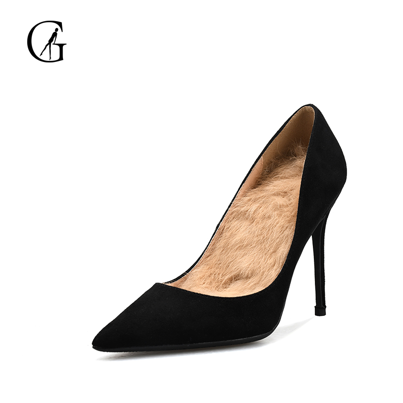 GOXEOU 2018 New Women Pumps Thin High Heels Sexy Pointed Toe Slip-on Wedding Office Fur Handmade Plus size Free Shipping black basic slip on pumps sexy women pointed toe faux suede high heels 8cm d orsay for office dress size 4 16 us fsj