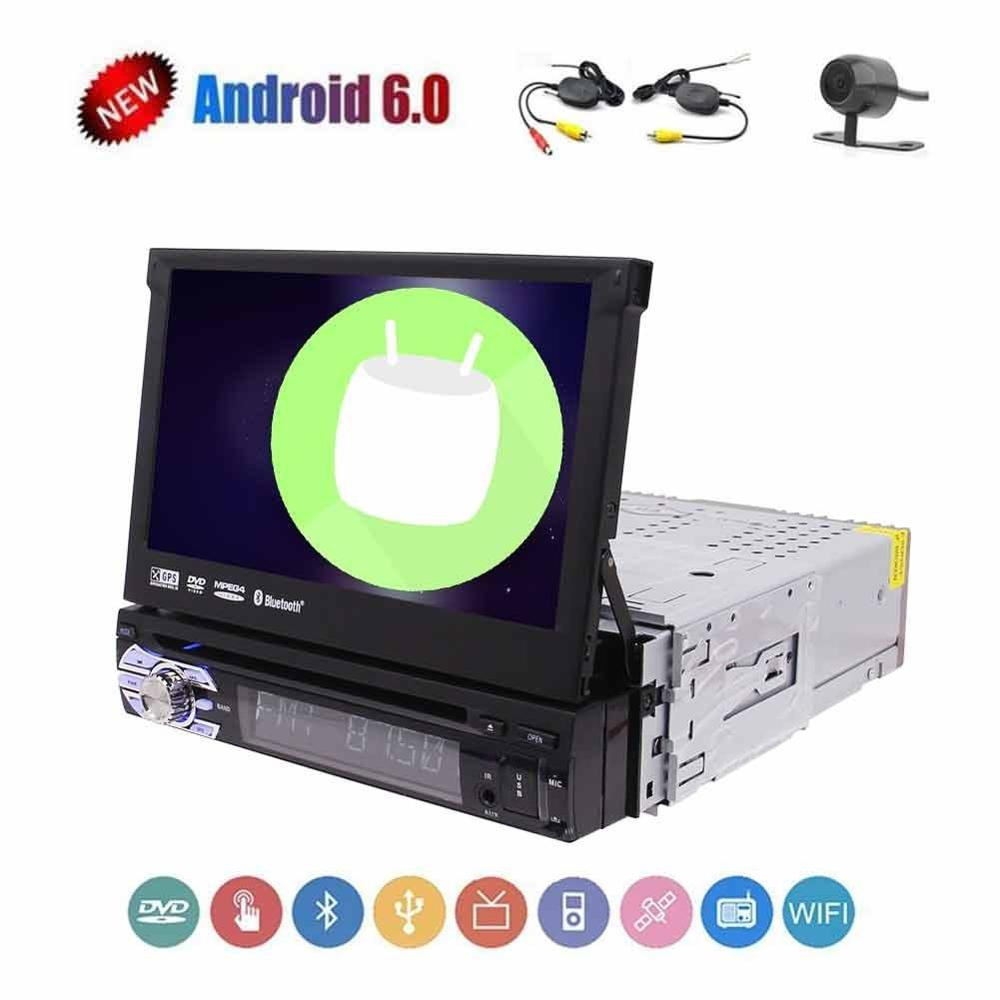 Single din 1 din 7 inch gps radio android 6.0 car dvd player Hands-free and Steering Wheel Controls,FM/AM,AUX Video Input and