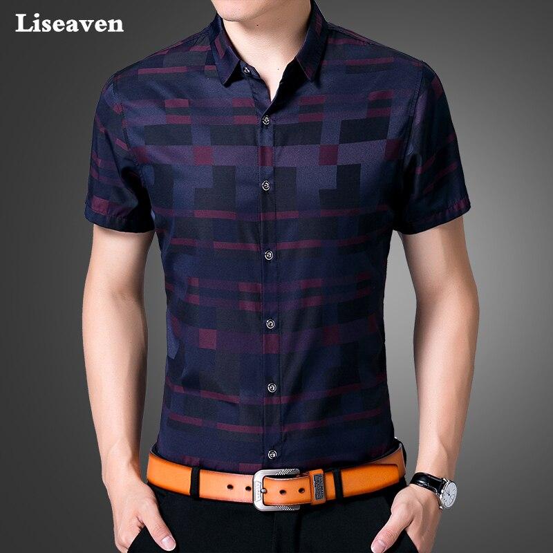 Liseaven Herrenhemd Marke Luxus Männer Kurzen Ärmeln Kleid Hemd drehen-unten  Kragen Strickjacke Shirt Männer Kleidung 4ff3860c66