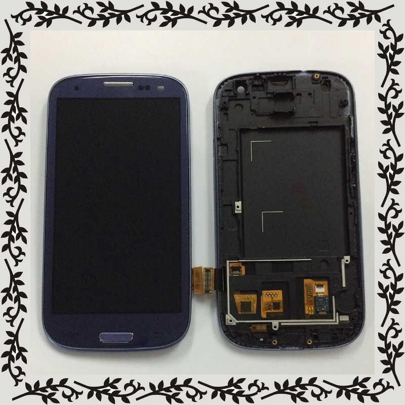 الأزرق الداكن لسامسونج غالاكسي S3 Neo i9301 i9300i i9308i i9301i S3 III i9300 شاشة الكريستال السائل لوحة شاشة تعمل باللمس الجمعية الإطار