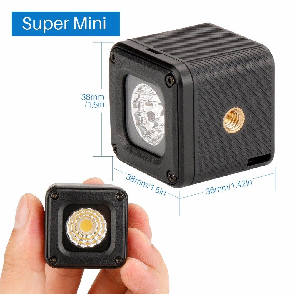 Ulanzi L1 impermeable regulable LED Luz de vídeo en la cámara para Canon Nikon DSLR Gopro 6, iluminación de aventura para DJI Yuneec Drones