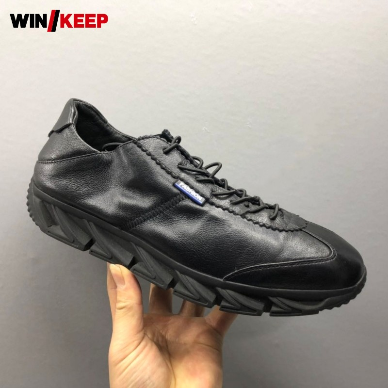 Brand Jogging Sport Shoes Men Flat Elastic Band Black Sneakers Real Leather Soft Comfortable Running Athletic Shoes ZapatillasBrand Jogging Sport Shoes Men Flat Elastic Band Black Sneakers Real Leather Soft Comfortable Running Athletic Shoes Zapatillas