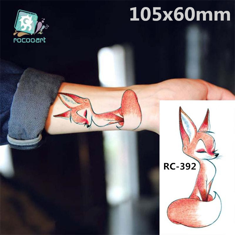 Body Art Waterproof Temporary Tattoos Paper For Women And Children 3d Lovely Fox Design Small Arm Tattoo Sticker RC-392