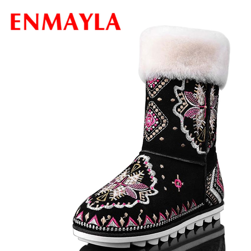 ENMAYLA Women Winter Warm Fur Flats Embroidered Snow Boots Shoes Woman  Woman  Black High-top Shoes Motorcycle Boots Sale Hot enmayla winter autumn round toe low heel knee high boots women flats lace up shoes woman rider brown black suede motorcycle boot