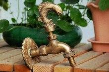 НОВЫЙ Бесплатная Доставка Декоративные открытый кран сельских форма животное сад bibcock антикварной бронзы Fish кран для Сада мытья