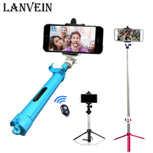 LANVEIN Foldable Tripod Monopod Selfie Stick Bluetooth With Button Pau De Palo Selfie Stick For Android iPhone Perche Selfies