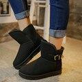 Nuevos Zapatos de Invierno de Las Mujeres Botas de Nieve Nueva Llegada de Lujo de Deslizamiento tobillo Moda Señaló zapatos de Mujer Otoño de Gamuza Plana 2016 Bot