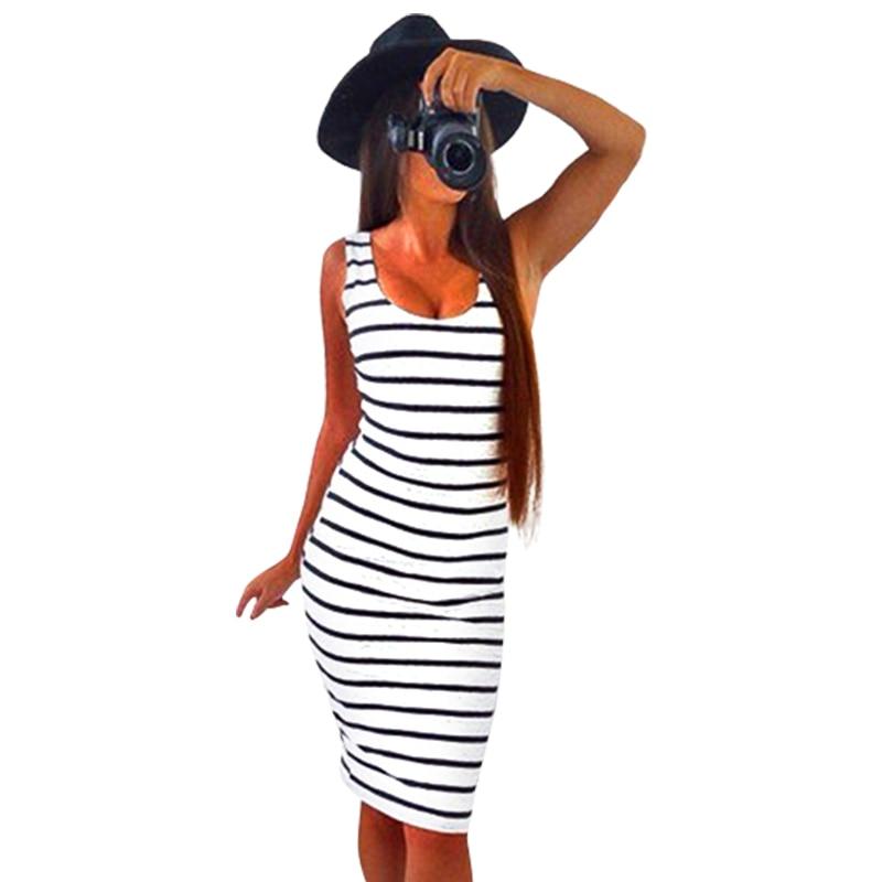 Verano mujeres rayas casual dress vestidos sin mangas de cuello redondo slim fit