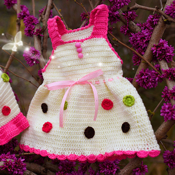 c4ad9a80fee17 Summer style handmade crochet baby dresses sling dress and cute hat 2pcs  set toddler girl crocheted dress-in Dresses from Mother & Kids on  Aliexpress.com ...