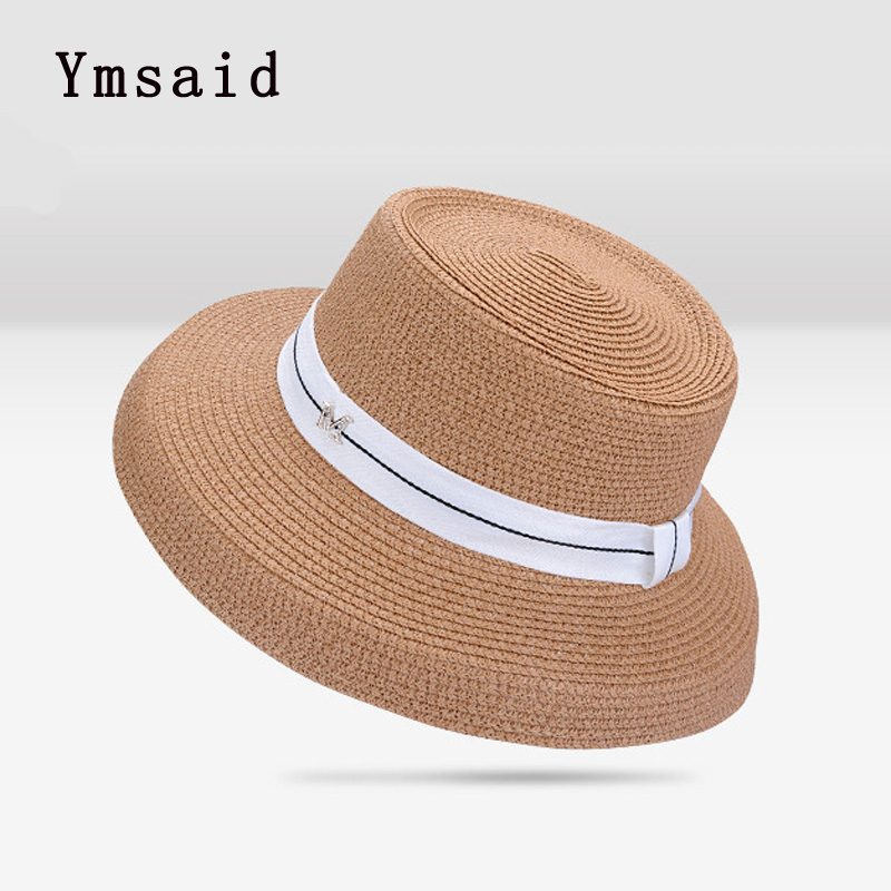 a691ce9c4 Ymsaid New Color Colorblock Ribbon Female Straw Hats Summer Seaside ...