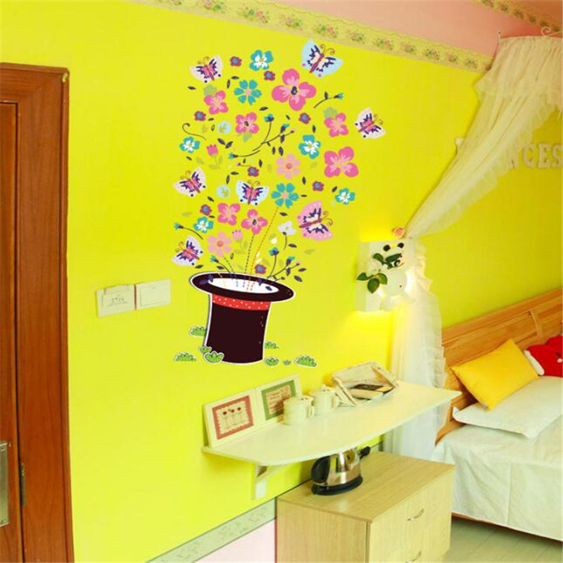 IDFIAF Magic Hat Butterfly Wall Stickers Home Decor Wall Decal ...