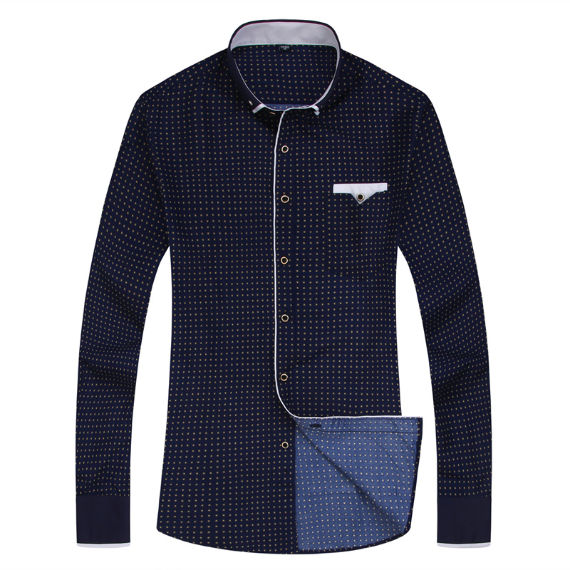 2019 Men Fashion Casual Long Sleeved Printed shirt Slim Fit Male Social Business Dress Shirt Brand Men Clothing Soft Comfortable 4