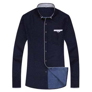 2019 Men Fashion Casual Long Sleeved Printed shirt Slim Fit Male Social Business Dress Shirt Brand Men Clothing Soft Comfortable 8