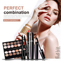 4 Pcs Eyes Makeup Set 12 Color Eyeshadow Palette+Eyebrow Enhancer Pencil+Black Mascara+Black Liquid Eyeliner Eyes Cosmetic Kit