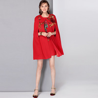 High Quality In Autumn and Winter 2017 European Luxury Three dimensional Rose Sequins Embroidered Wool Two Piece Coats Blends